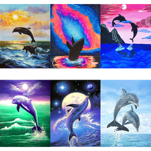 AMTMBS DIY Oil Painting By Numbers Animal Acrylic Paint Canvas Kits Coloring Dolphin Unframed Home Decoratio