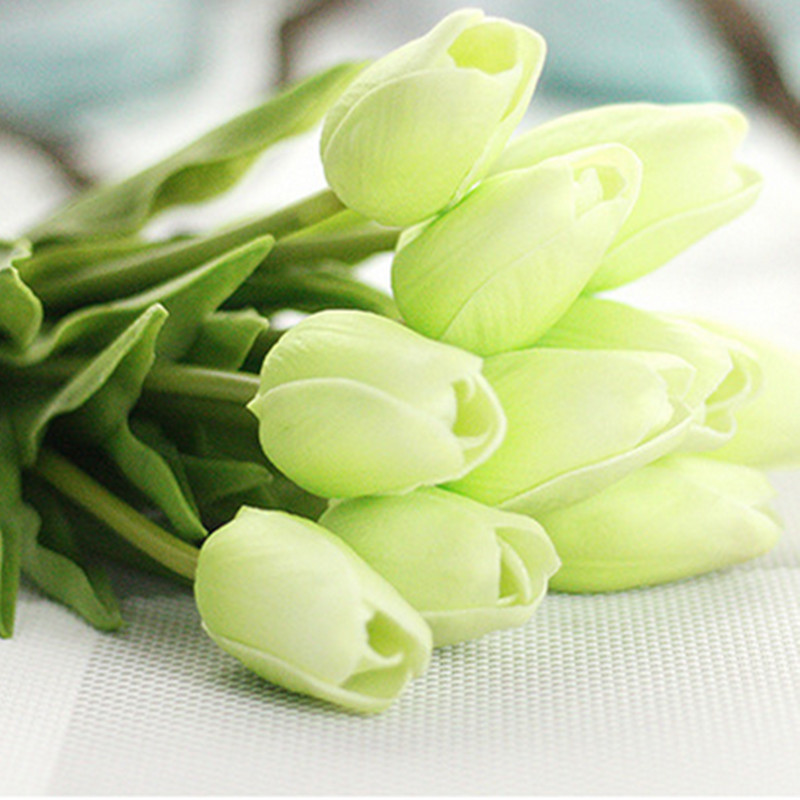 1PC PU Mini Tulips Artificial Flowers For Home And Wedding Decoration Flowers 17