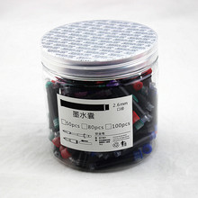 Fountain-Pen Refills Cartridges Office-Stationery Colored Black Blue 100pcs Ink-Sac Universal