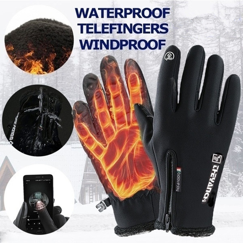 Cold-proof Unisex Waterproof Winter Gloves Cycling Fluff Warm Gloves For Touchscreen Cold Weather Windproof Anti Slip