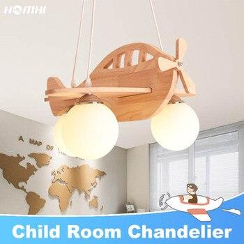 Kids Airplane Wood Chandeliers lights for room avizeler lampy sufitowe Japanese suspension luminaire nordique lampara de techo