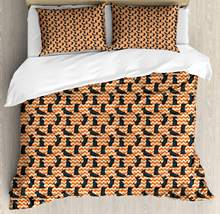 Scottie Dog Duvet Cover Set Sketched Puppies on a Crooked Chevron Zigzag Backdrop Decorative 3 Piece Bedding Set with 2 Pillow(China)