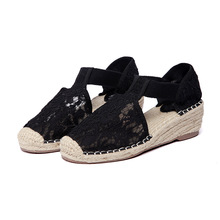 Casual Sandals High-Heels Rope Fisherman's-Shoes Wedges Bottom Thick Open Slope Lace