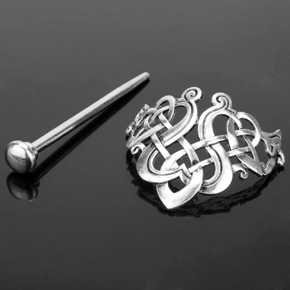 Horquilla vikinga Celtics nudos corona Vintage varilla de pelo metálico runas dragones diapositiva Clip de pelo mujeres accesorios de joyería de pelo