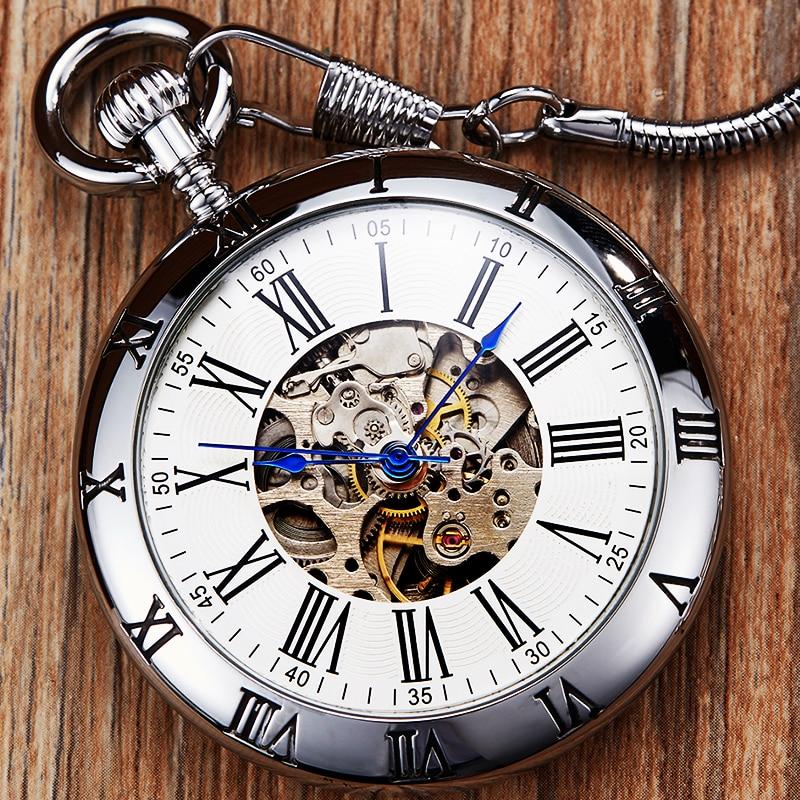 Relógio de Bolso Mecânico Retro Masculino Mulher Mão-vento Prata Ouro Luxo Cobre Esqueleto Steampunk Relógios Fob Corrente Relógio Pingentes