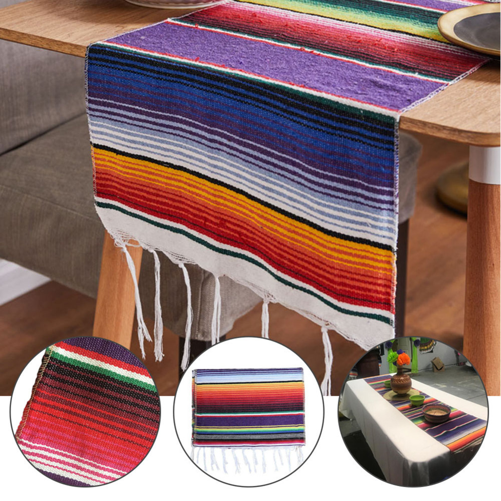 4 Color Mexican Party Serape Cotton Tablecloth Stripe Table Runner Rainbow Wedding Chritmas Table Cloth Flag Home Decor 213X35cm