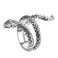VAGZEB 2020 New Retro Punk Exaggerated Spirit Snake Ring Fashion Personality Stereoscopic Opening Adjustable Ring Jewelry new retro punk skull ring rock car crack halloween men and women personality ring jewelry gift