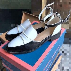 Image 5 - Женские босоножки с ремешком на щиколотке SWYIVY, черные/белые повседневные туфли размера плюс 34 43, лето 2019