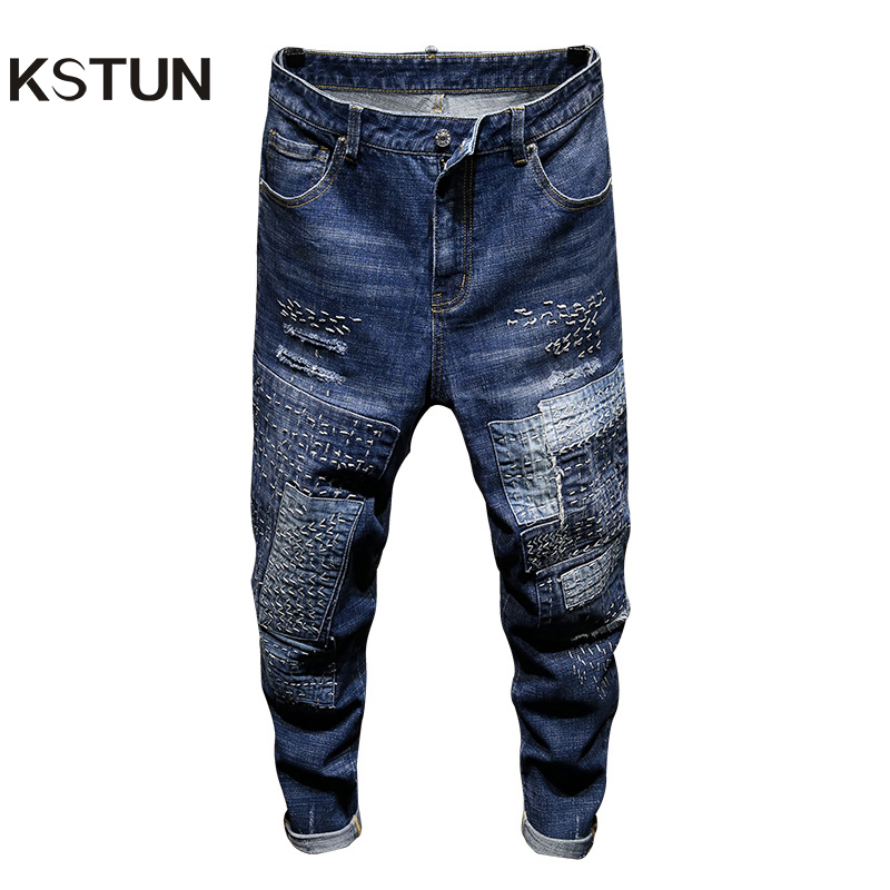 KSTUN Relaxed Tapered Jeans Men Patchwork Hand Embroidered Hip Hop Biker Jeans Mens Ripped Jeans Streetwear Casual Denim Pants