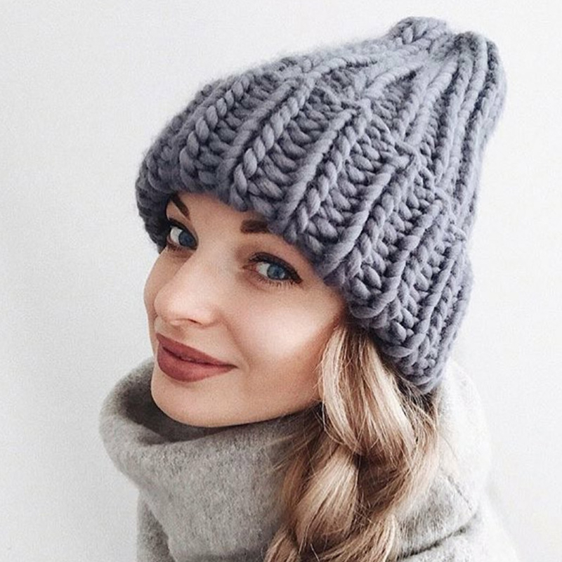 Women Hand Made Knitting Hat High Quality Customizable Logo Winter Warmer Ear Thick Soft Beanie Lady Chunky Knitted Rib Hats 102