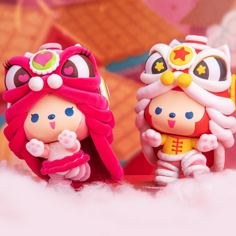 Cute Cartoon Bauble Model Nine-Tailed Demon Fox New Year Doll Lion Dance Series Gift Box Trend Kid Doll Birthday Gift