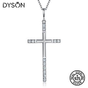 Dyson 925 Sterling Silver Jewelry For Women Men Wedding Fashion Cross CZ Crystal Zircon Silver Pendant Christmas Gift Fine Jewel