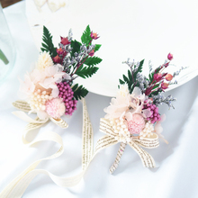 Wedding Bridal Wrist Flower For Bridesmaids Jewelry Groom Corsage Set Men Fake Artificial Dried Silk Evening Party