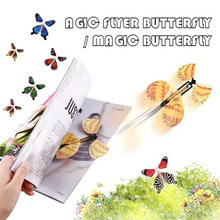 5pcs Magic Tricks Flying Butterfly Rubber Band Powered Wind Up Butterfly Toy Surprise for Wedding Partty and Birthday Gifts