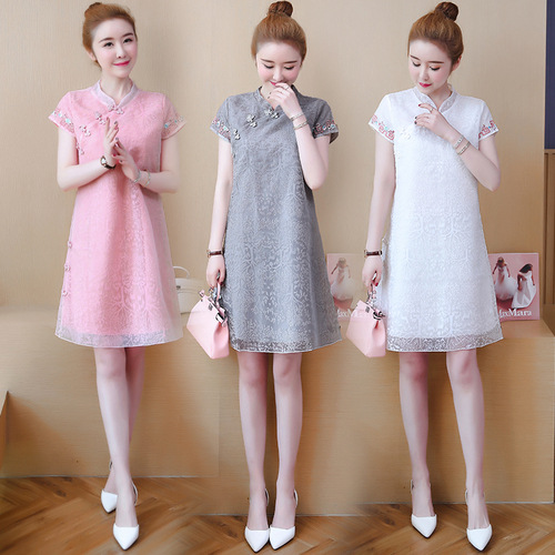 2019 New Style Summer Short GIRL'S Fashion Chinese-style Modified Version Of Dress