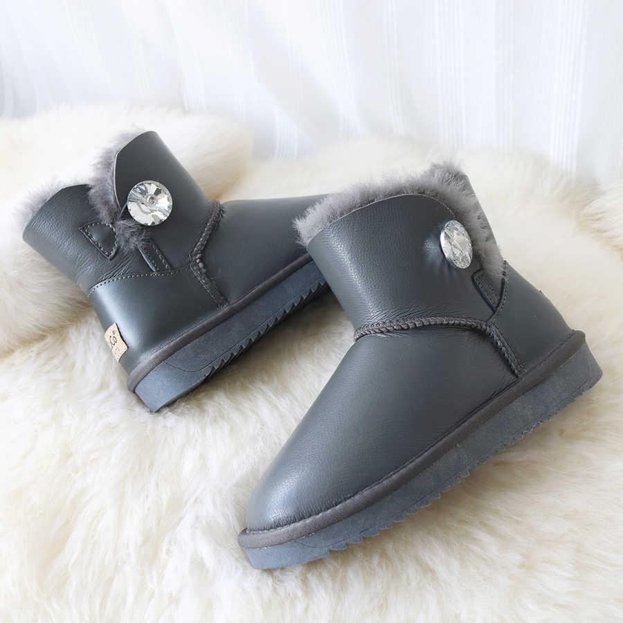 G & Zaco Cừu Giày Len Da Cừu Thật Giày Boots Nữ Da Ủng Trắng Lông Ấm Áp Phẳng Ngắn Mùa Đông chống Thấm Nước Khởi Động