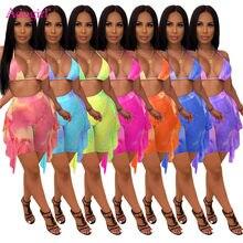 Adogirl сетчатый комплект из двух предметов с принтом тай-дай, женский сексуальный летний пляжный костюм, бюстгальтер, короткий топ, шорты с обо...