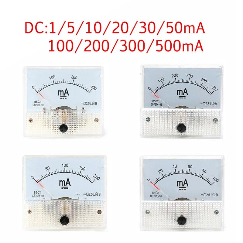 DC аналоговая панель измерителя тока измерительный прибор 1/5/10/20/30/50/100/200/300/500 мА амперметр тока Амперметр 85C1