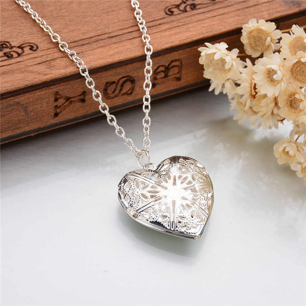 Colar para mulheres coração foto colar pingente senhora jóias gargantilha diy amor colar de metal oco pingente moldura da foto personalizado