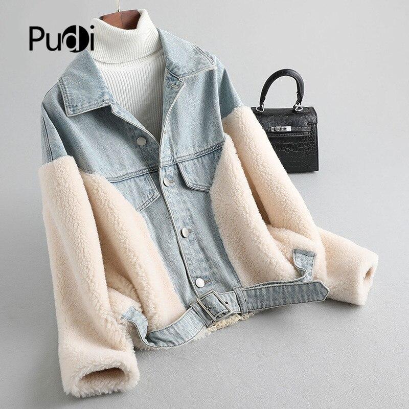 Pudi Women Wool Fur Fix Faux Fur  Coat Jacket Girl Female Spring Warm Denim Jackets A19076