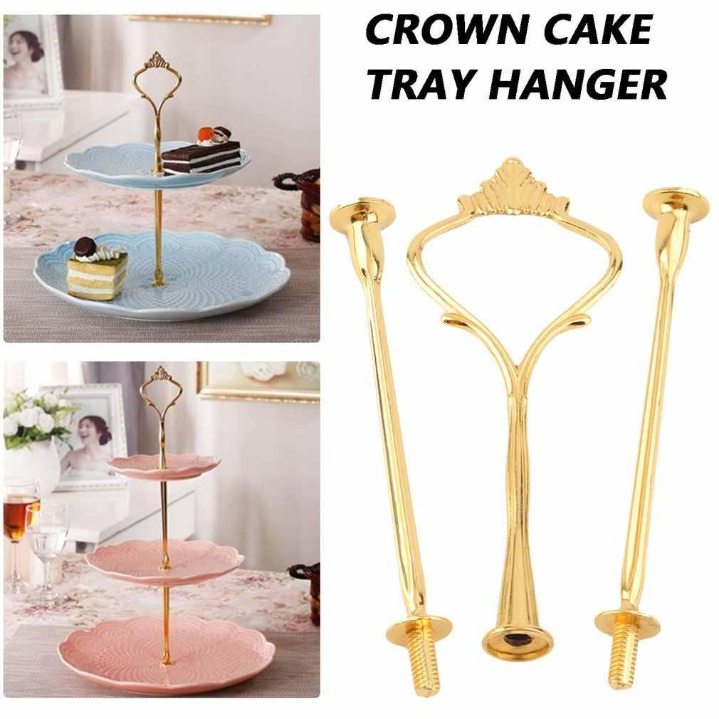 3 ชั้น bakeware เค้กขาตั้ง Handle Crown FITTING โลหะงานแต่งงาน Golden อุปกรณ์ครัวเค้กตกแต่งเครื่องมือ