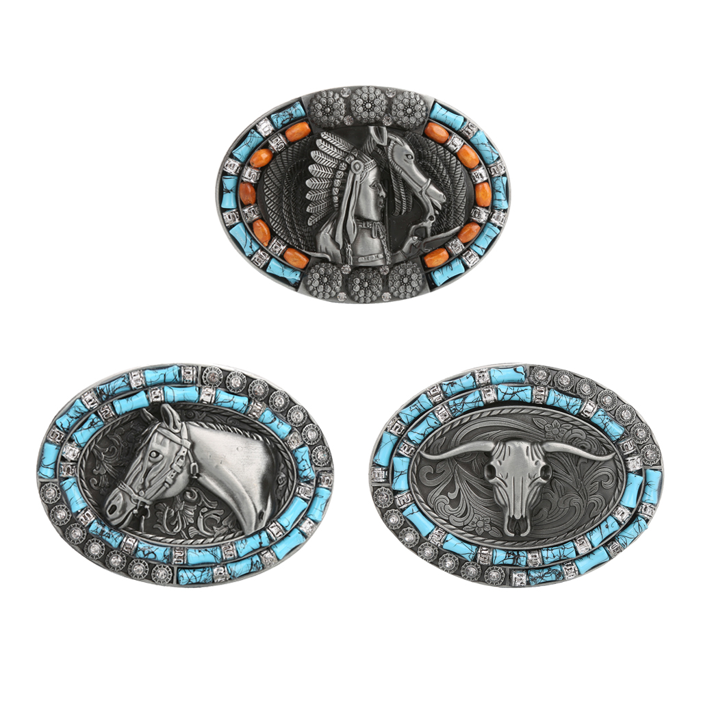Western Cowboy Rodeo Belt Buckle Mens Womens Bohemian Style Belt Accessory Belt Buckle