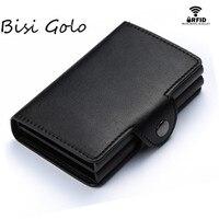 Кошелек с RFID-защитой BISI GORO, винтажный кошелек с двумя алюминиевыми отделениями для кредитных карт и документов, 2019