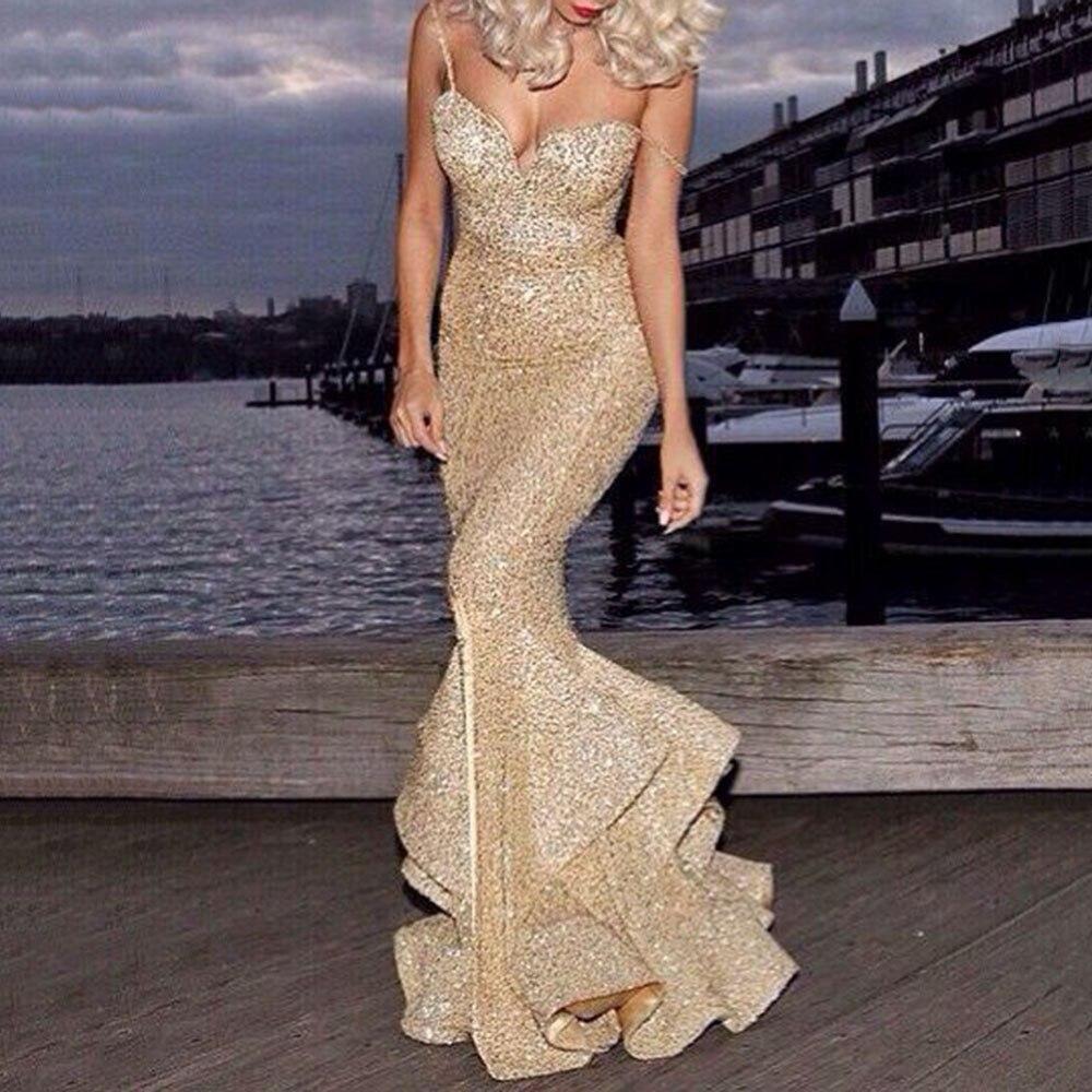 Sequins Mermaid Long Dresses Women Spaghetti Straps Elegant Evening Party Dress Sleeveless Wedding Formal Gowns Robe De Soiree