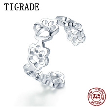 Tigrade Sterling Silver S925 Rings for women Opening Ring Adjustable size Pet Cat Claw Cute Finger Band anillos mujer Unisex
