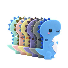 Tiny Rod 1pc Silicone Teethers  Dinosaur Cartoon Shape DIY Pacifier Clip Chains Teething Necklace Nursing Charm Baby
