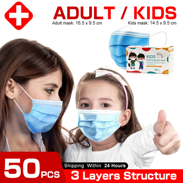 High quality Disposable face masks 3-Layer Anti bacterial Filtration Mascarillas Anti dust mask маска маски Safety shipping 1