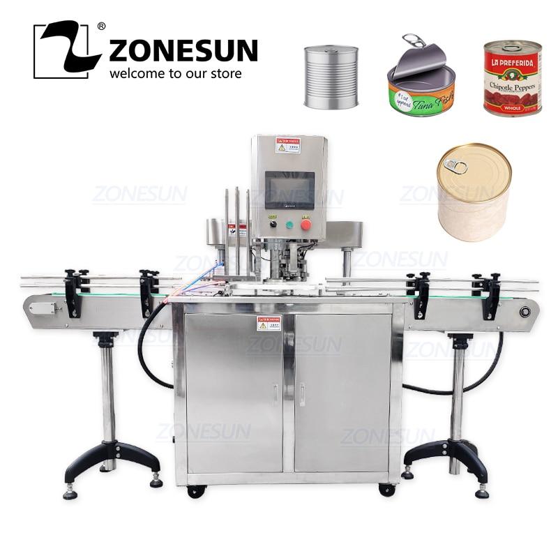 ZONESUN 110 V/220 V máquina automática de sellado de latas de hojalata selladora de doble motores de latas de plástico máquina de tapado