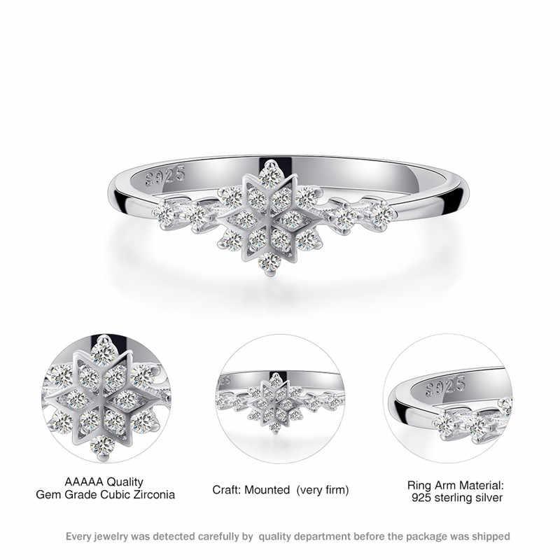 高級雌花スノーフレークリング 100% リアル 925 スターリングシルバーウェディングバンドリング約束愛の婚約指輪女性のための