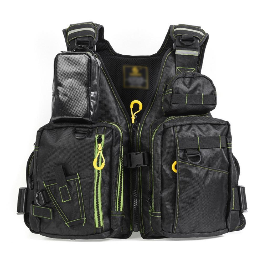 Adjustable Fishing Vest Multi-pocket Reflective Design Buoyancy Life Jacket Removable Strap Fishing Vest For Men Women