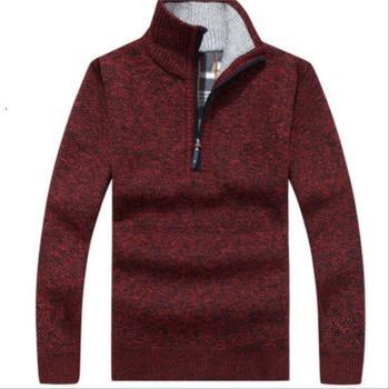 OLOEY 2019 Winter New Man Casual Sweater Solid Khaki Blue Turtleneck Pullovers Knitted Clothing Mens Sweaters Erkekler Kazak