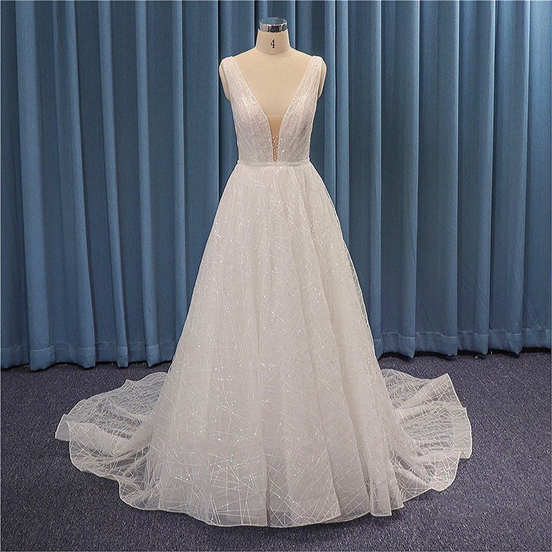 Shiny Simple Ball Gown Wedding Dresses 2020 Crystal Sequins Lace Boho Bridal Dress Sleeveless Illusion Tulle Wedding Party Gowns