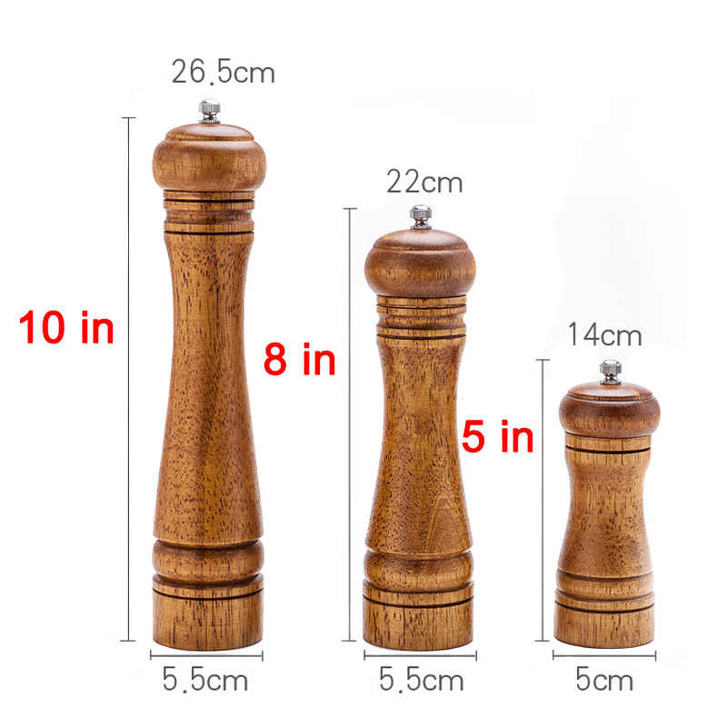 1 Pcs Salt Pepper Mill Ceramic Grinder Wooden Manual Adjustable Durable Kitchen Tools JS21