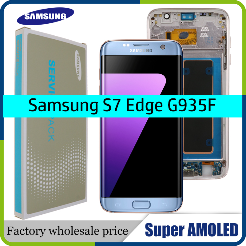 ORIGINAL 5.5'' SUPER AMOLED Display With Frame For SAMSUNG Galaxy S7 Edge G935 G935F Touch Screen Digitizer Display+Service Pack