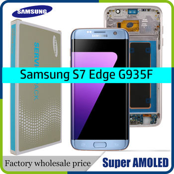 Original 5.5 super super super amoled display com moldura para samsung galaxy s7 edge g935 g935f toque digitador da tela + serviço pacote