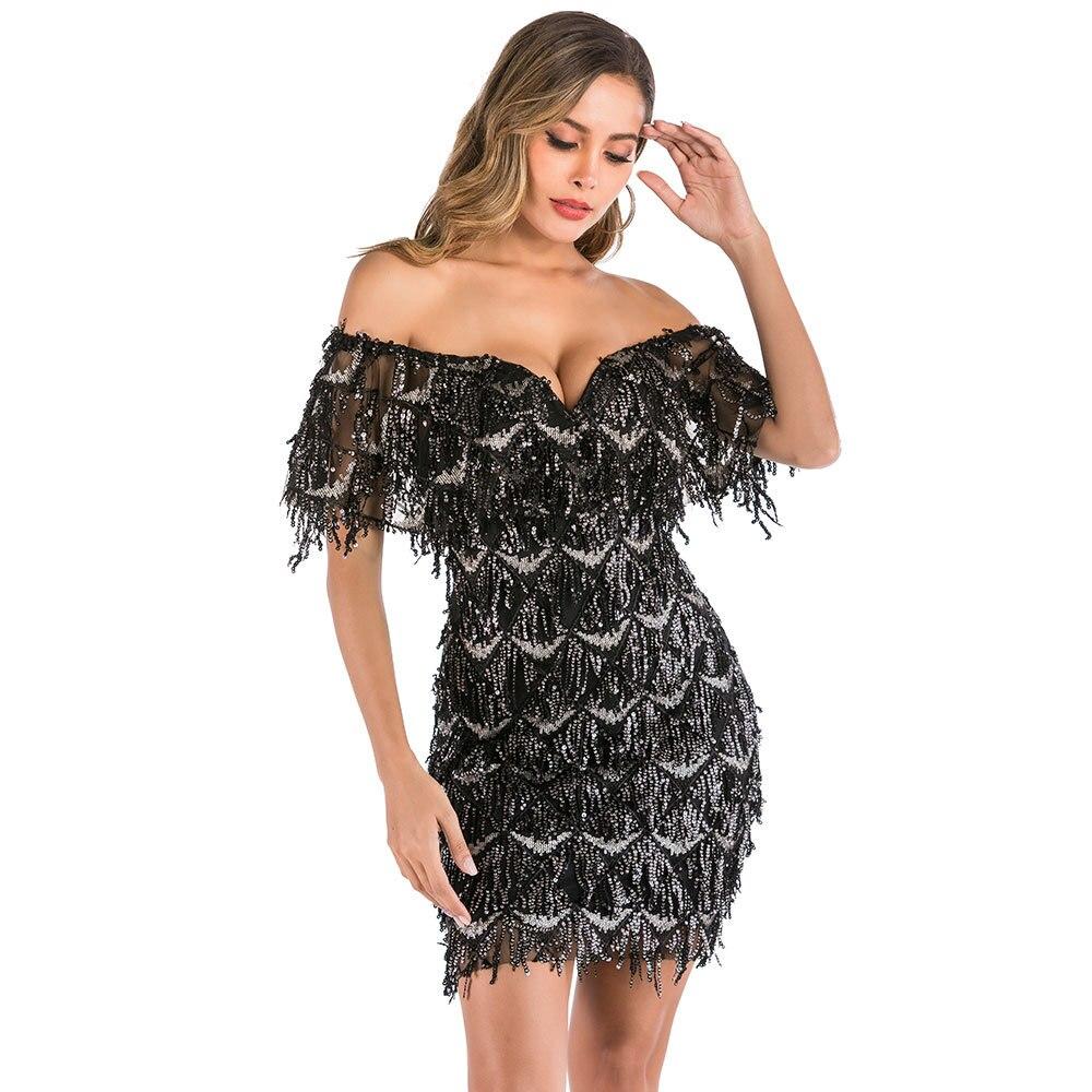 Sexy Cocktail Dresses Black Dresses Off-the-shoulder Wedding Guest Party V-neck Knee-length Formal Party Gowns Short Dress