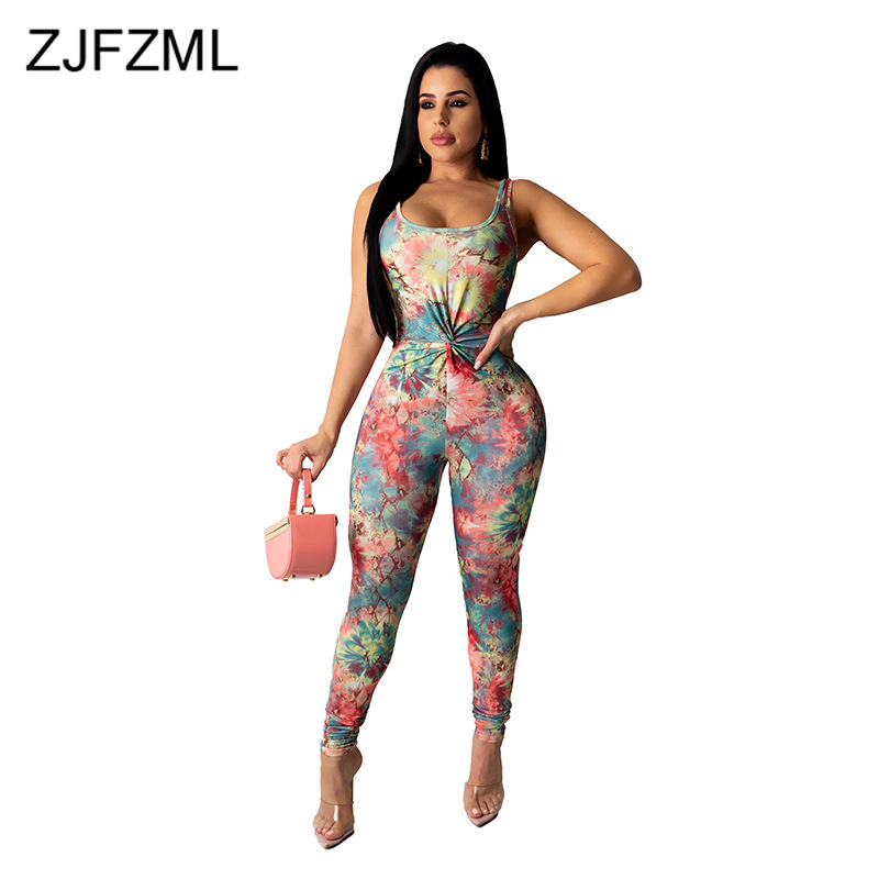 Rainbow Tie Dye Sexy Skinny Overall For Women Sleeveless Bandage One Pice Bodysuits Party Night Club Pleated Bodycon Jumpsuit
