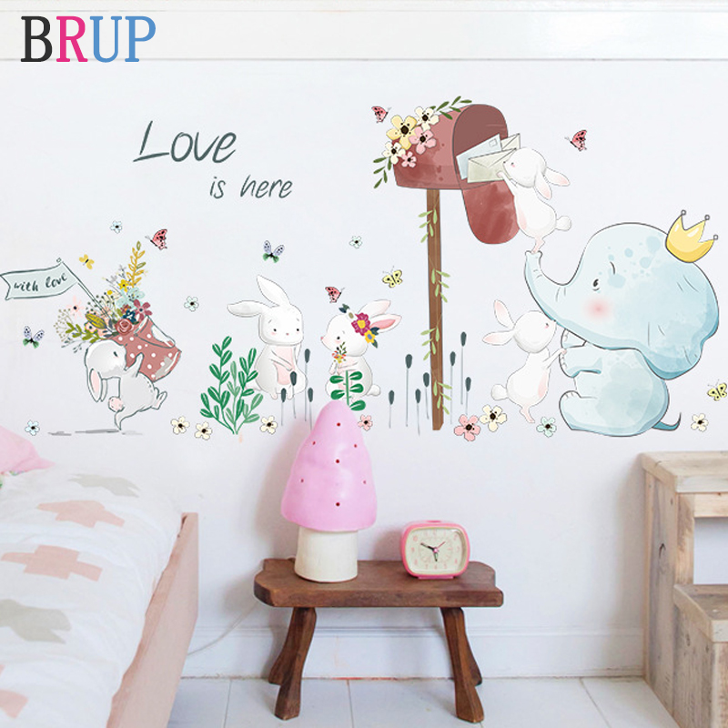 Cartoon Lovely Animals Wall Stickers For Kids Rooms Rabbits Elephant Recieve Email Decorative Vinyls For Walls Room Decor