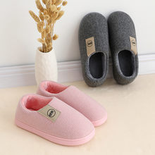 Plaid plush and velvet soft warm foot cotton slippers Winter couple solid color indoor warm slippers Home Floor Bedroom Loafer(China)