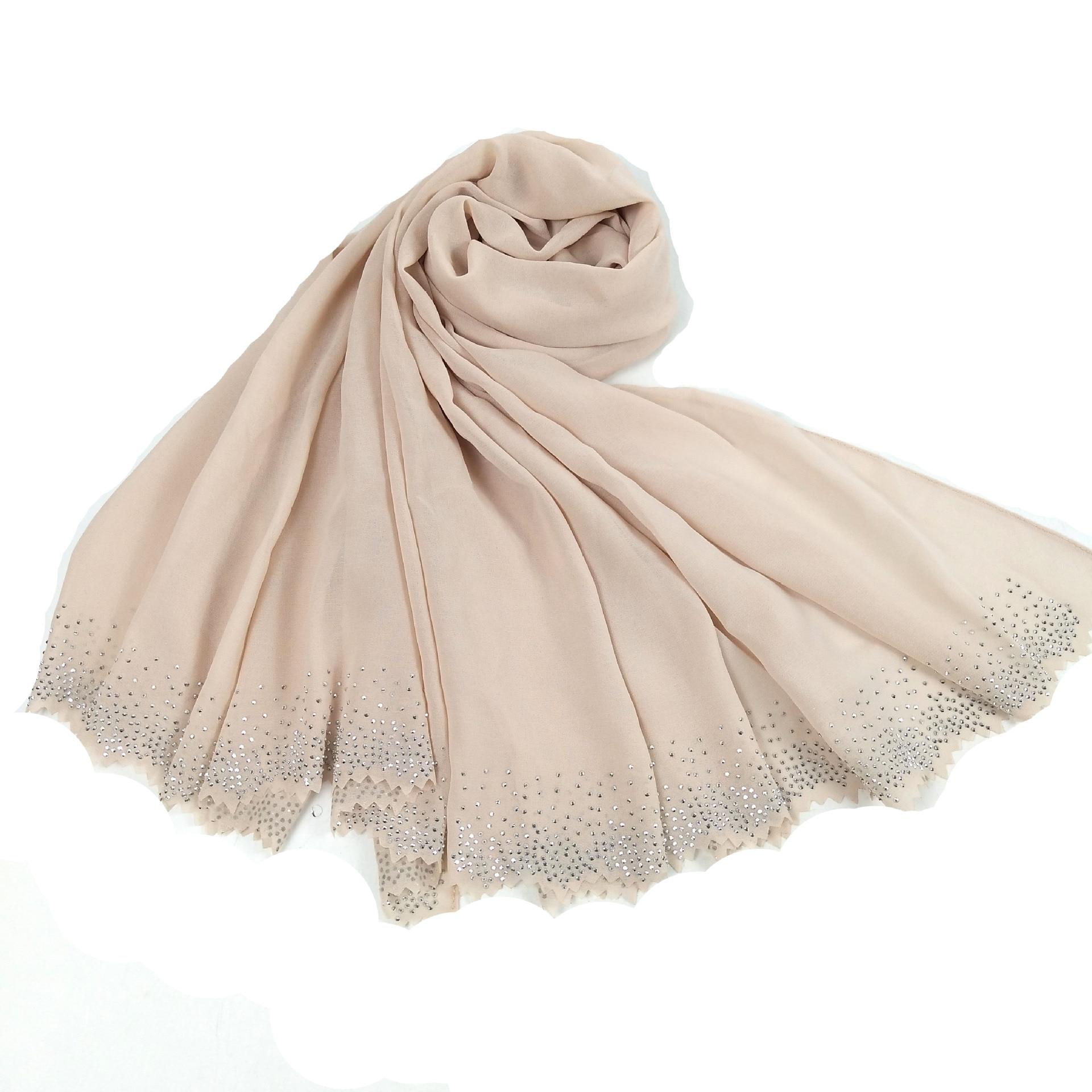 Image 4 - New Hollow Hot Diamond Pearl Chiffon Headscarf Muslim Hijab Long Towel Malaysian ShawlIslamic Clothing