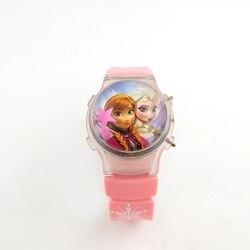 Elsa girl children's watch with a flashing light on the frozen cartoon frozen star's calendar