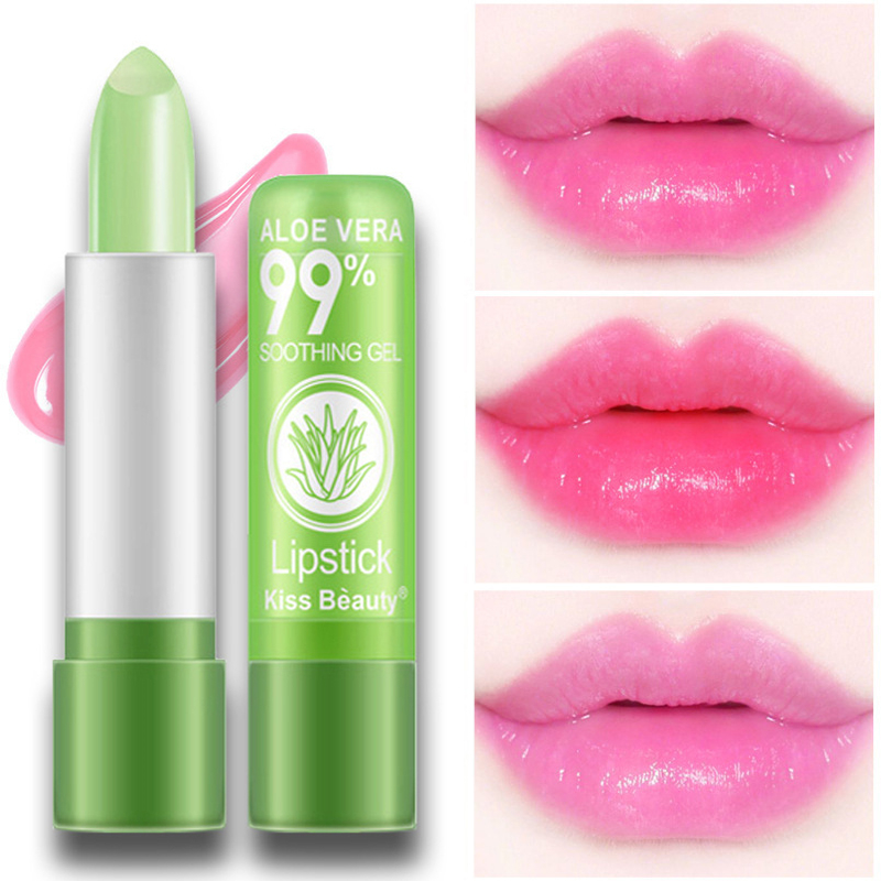 1pcs Moisturizing Lip Balm Natural Aloe Vera Lipstick Temperature Color Changing Long Lasting Lip Stick Care Protection Makeup