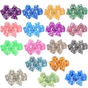 Glitter Polyhedral Dice 7pcs/Set RPG Dice Set d4 d6 d8 d10 d% d12 d20 for DnD MTG Tabletop RPGs(China)