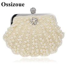 Women Handbags Vintage Pearls Evening Purse Metal Clutches Beige Beaded Bridal Wedding Box Clutch Bags Bolsos Mujer NW535