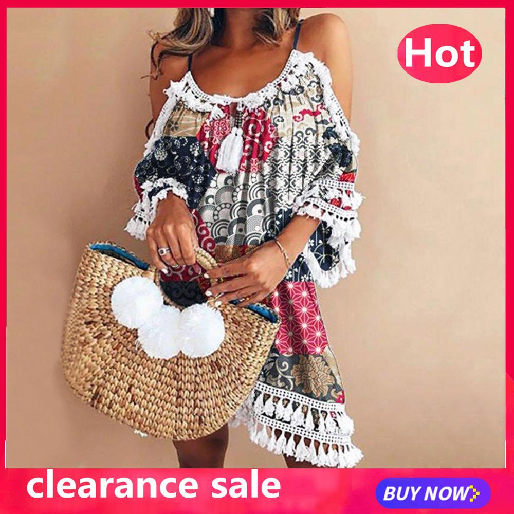 Beach-Dress Short Robe-De-Plage Tassel Cocktail-Party Sexy Off-Shoulder Playa Summer