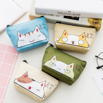 Small Coin Purse Women Cute Animal Cat Change Wallet Girls Kids Money Coin Bags Children Zipper Pouch Case Mini Key Card Holder image